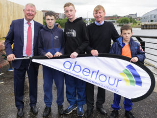 Sir Alex Ferguson meets young people from Aberlour Youthpoint
