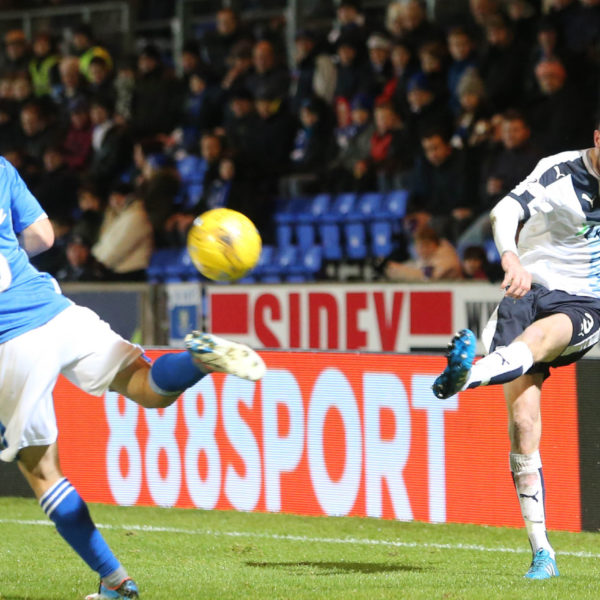Dundee's Kevin Holt curls in a cross - St Johnstone v Dundee, Ladbrokes Scottish Premiership at McDiarmid Park   - © David Young - www.davidyoungphoto.co.uk - email: davidyoungphoto@gmail.com