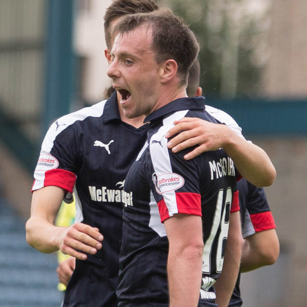Dundeeís Paul McGowan is congratulated by Michael Duffy after opening the scoring with a deft lob over Forfar keeper Grant Adam - Dundee v Forfar Athletic, Betfred Cup Group A at Dens Park   - © David Young - www.davidyoungphoto.co.uk - email: davidyoungphoto@gmail.com