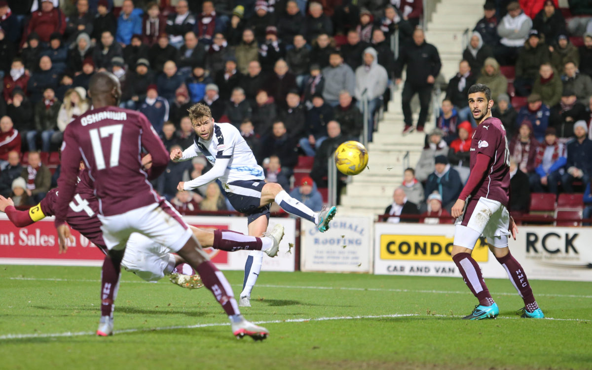 Dundee's Rory Loy curls home his side's equaliser - Hearts v Dundee - SPFL Premiership at Tynecastle   - © David Young - www.davidyoungphoto.co.uk - email: davidyoungphoto@gmail.com