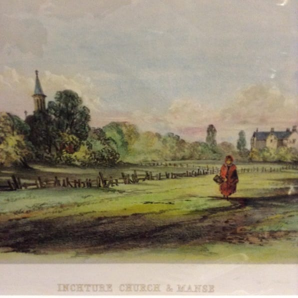 Original Antique Lithograph – Inchture Church and Manse 1857