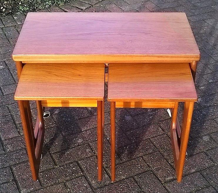 """Teak McIntosh """"Triform"""" Tables."""