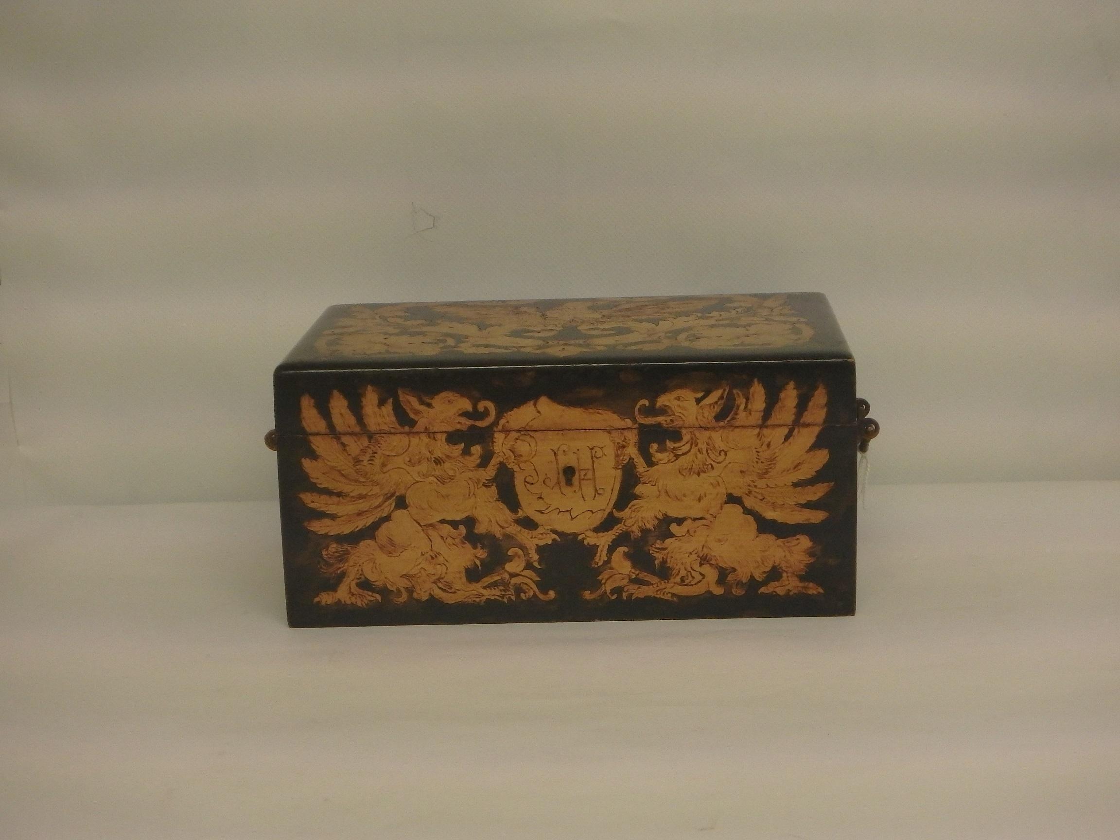 Decorative 19th Century Pokerwork Box