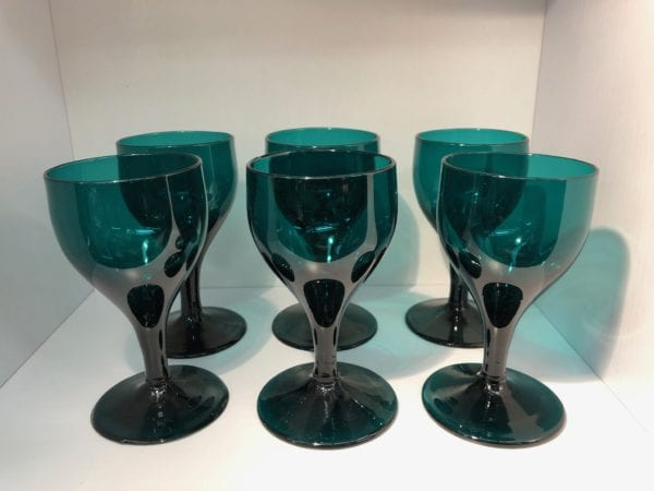 Set of 6 antique bristol green glasses