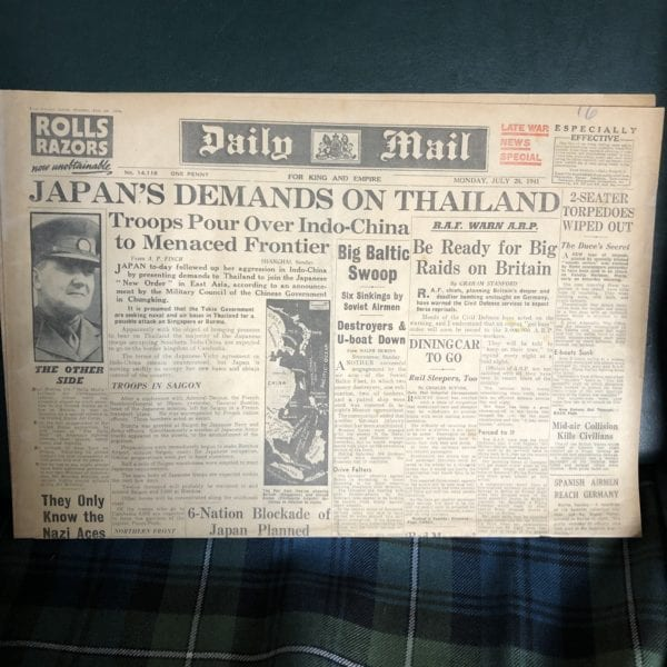 Wartime Newspaper – Daily Mail 28th July 1941