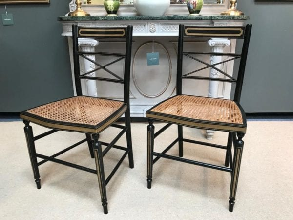 Pair of Ebonised Bergere Chairs