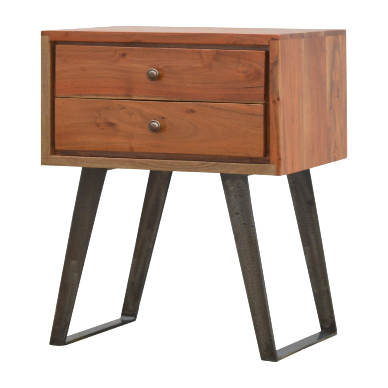 Solid Wood Bedside Table With Iron Legs Scottish Antique Arts Centre