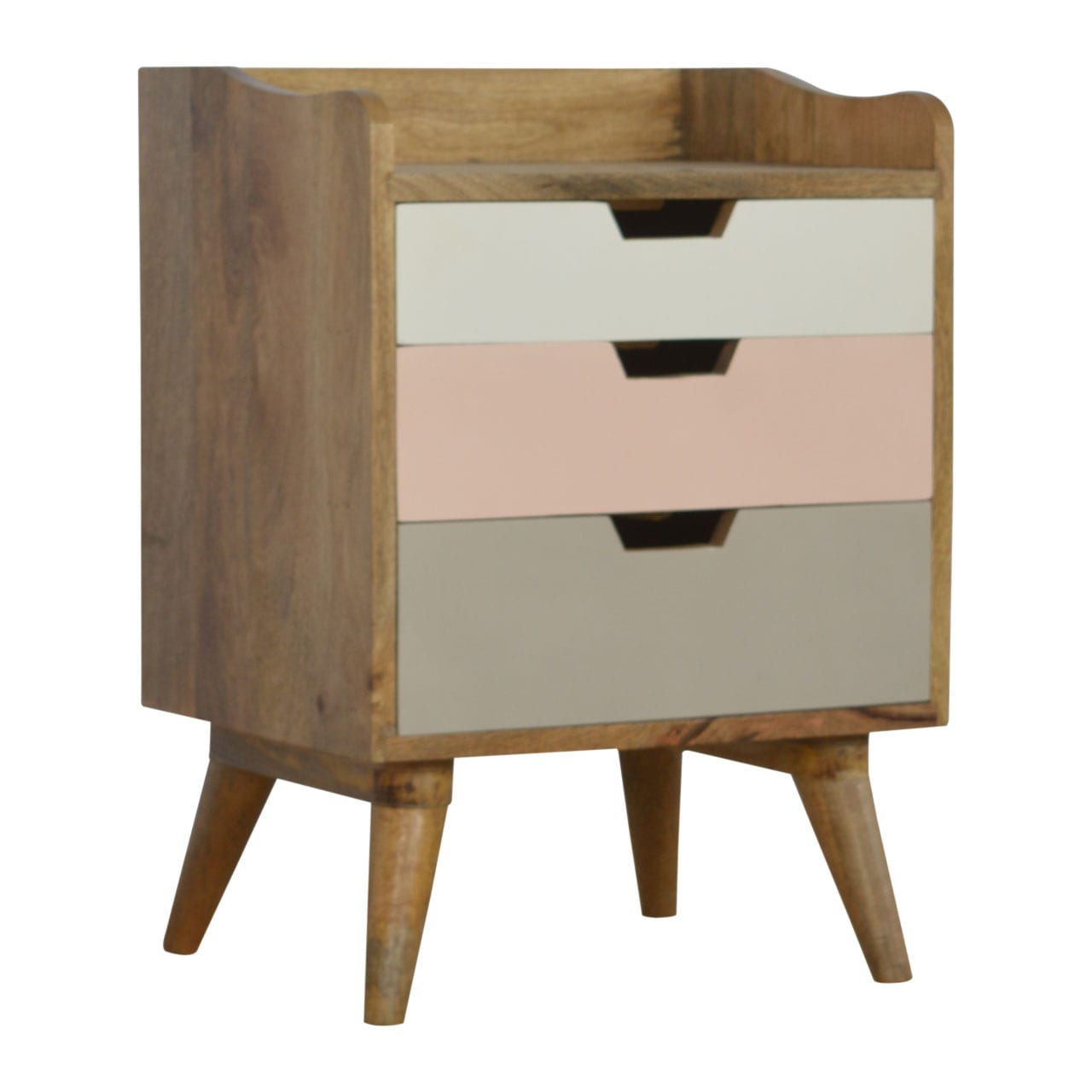 Bedside Table With Pink Painted Drawer Fronts