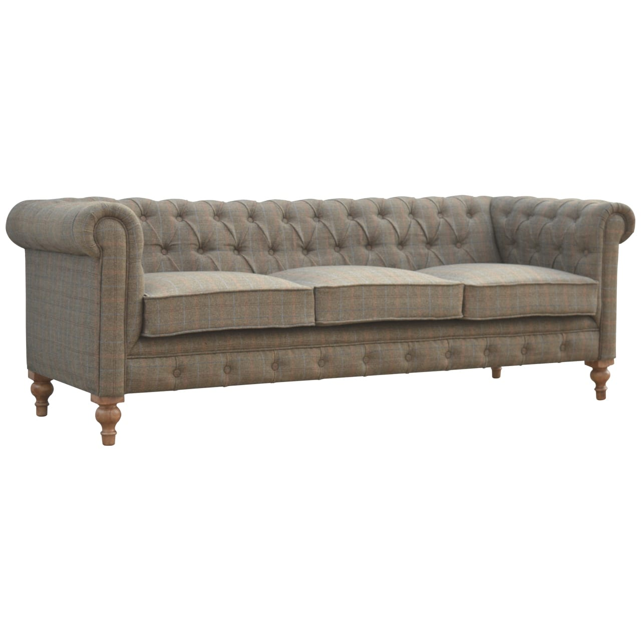 Artisan 3 Seater Chesterfield Sofa - Multi Tweed | Scottish Antique ...