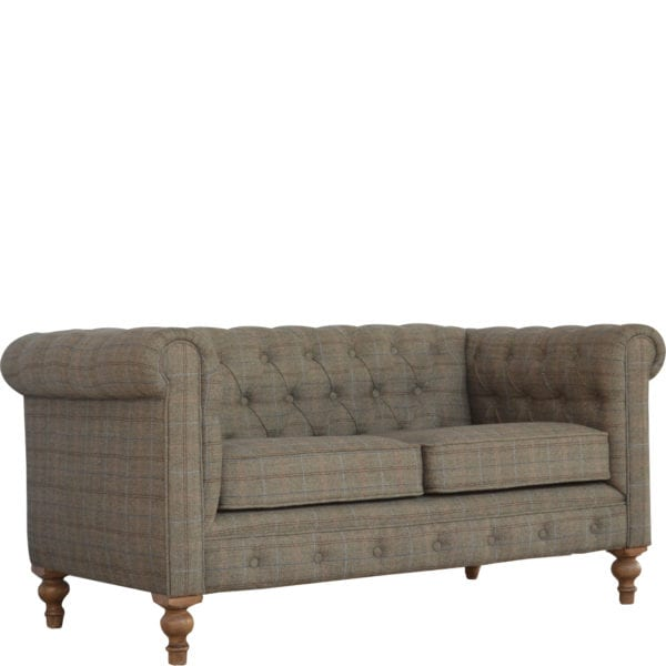 2 Seater Multi Tweed Chesterfield Sofa