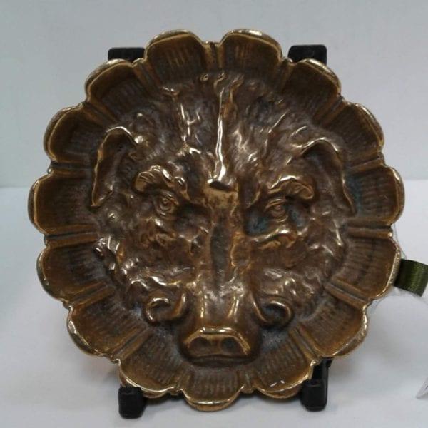 Antique brass Boar's head pin dish