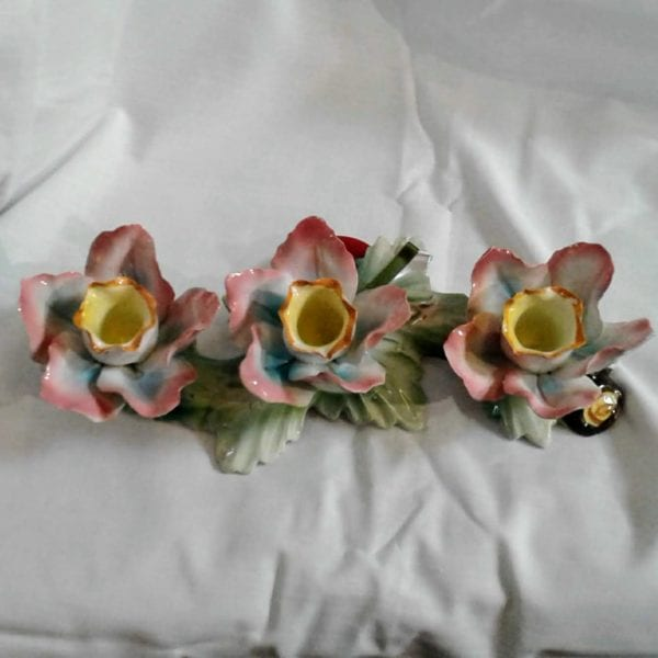 Vnitage Italian trio of roses candlestick