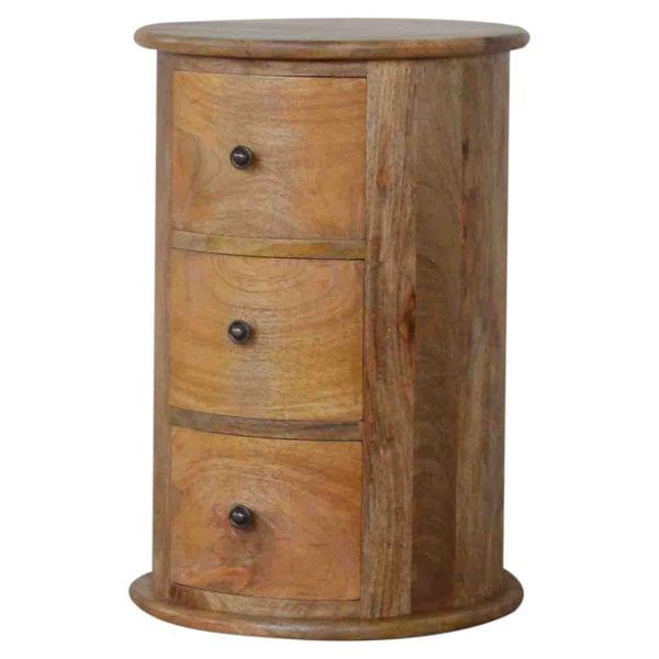 Solid Wood Slim Drum Chest with 3 Drawers