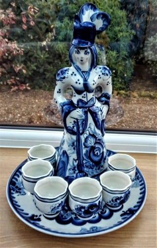 Russian Decanter Set by Gzhel Porcelain.