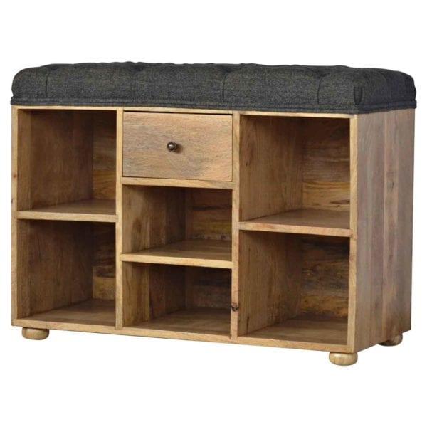 Black Tweed Solid Wood Shoe Storage Bench