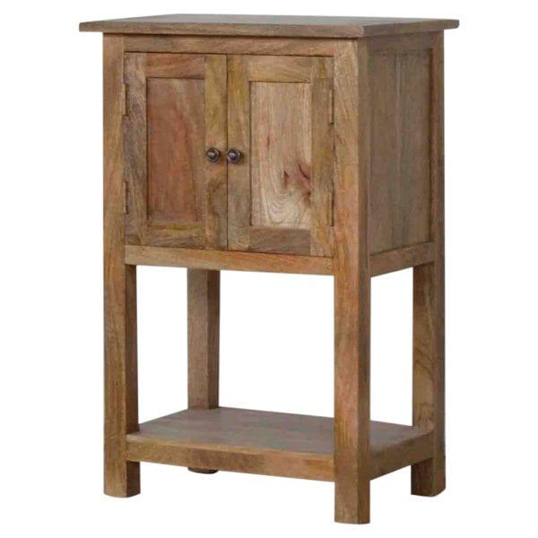Solid Wood 2 Door Farmhouse Lamp Table