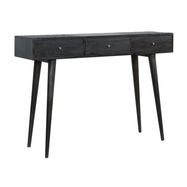 Solid Wood Ash Black 3 Drawer Console Table