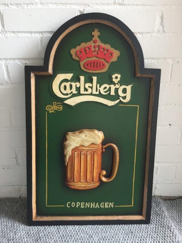RARE CARVED WOODEN CARLSBERG SIGN