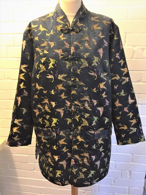 Embroidered Chinese jacket lined Dark blue