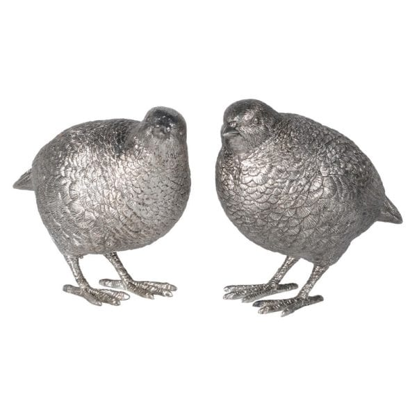 Set Of 2 Silver Effect Standing Quails