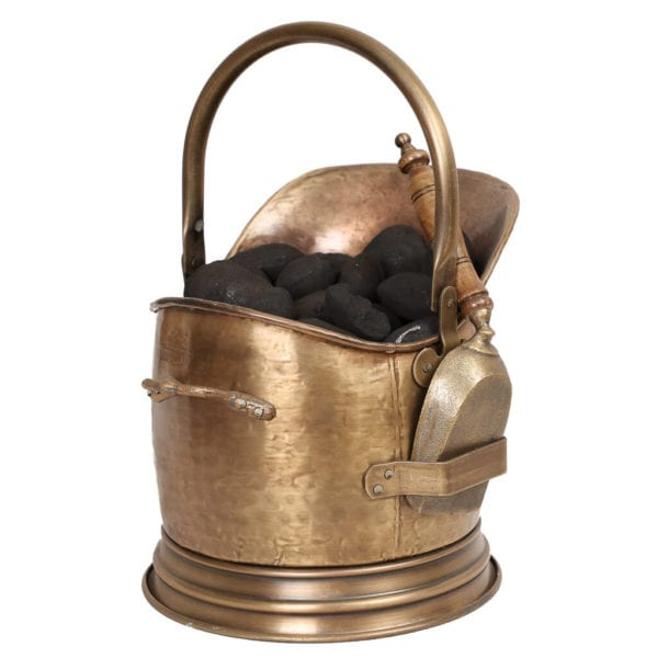 Antique Style Brass Coal Bucket and Shovel Set