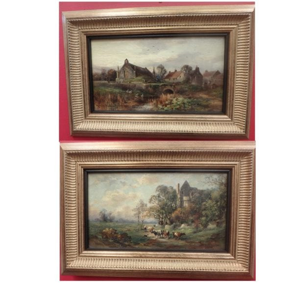 Craigmillar Castle and Restalrig – Pair Of Oils On Board by Murray J Macdonald
