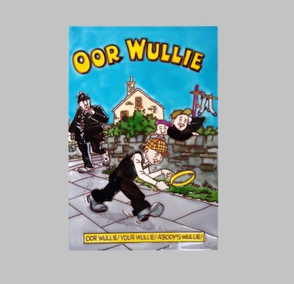 "Ceramic Art Tile – ""Oor Wullie – The Detective"""