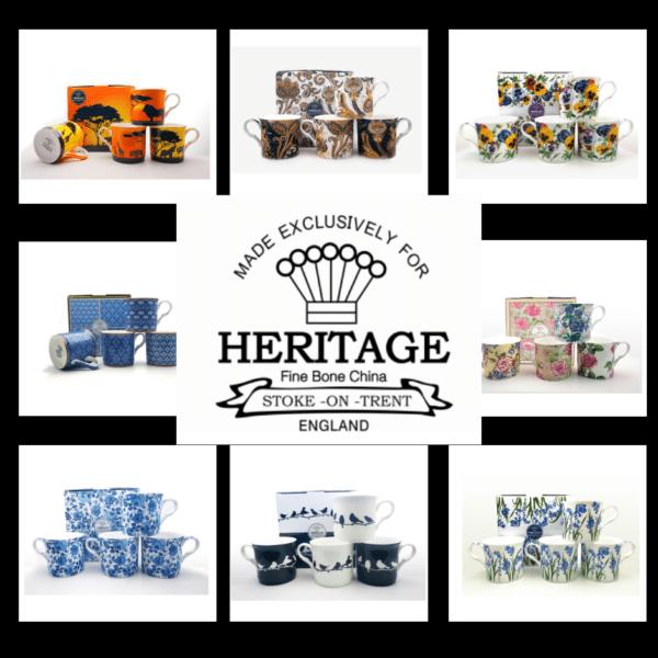 Heritage Fine Bone China Mugs – Gift Set of 4