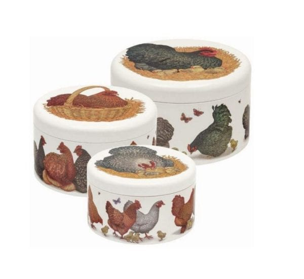 Set of 3 Nested Round Cake Tins in Farmyard Chickens Design