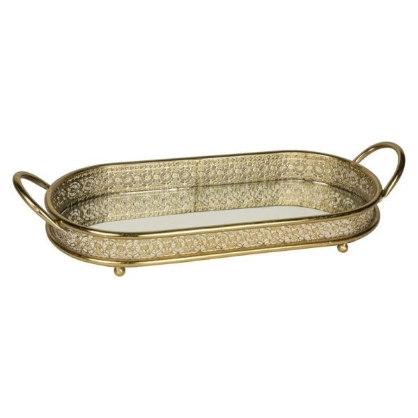 Antique Gold Effect Mirrored Tray