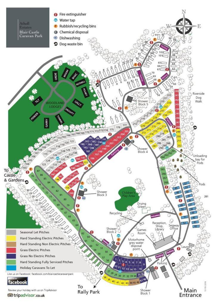 Caravan Parks Perthshire - Blair Castle Campsite Park Map on