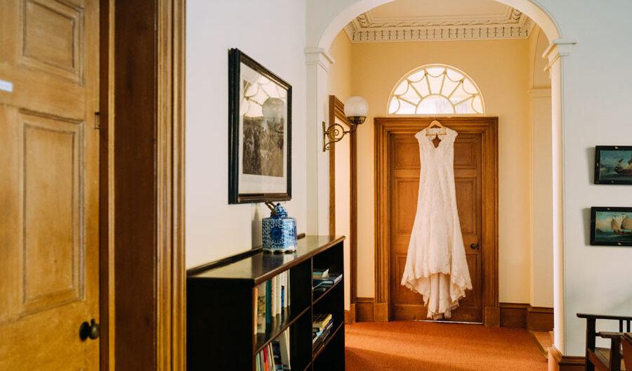 wedding dress hanging in Tulliemet Lodge