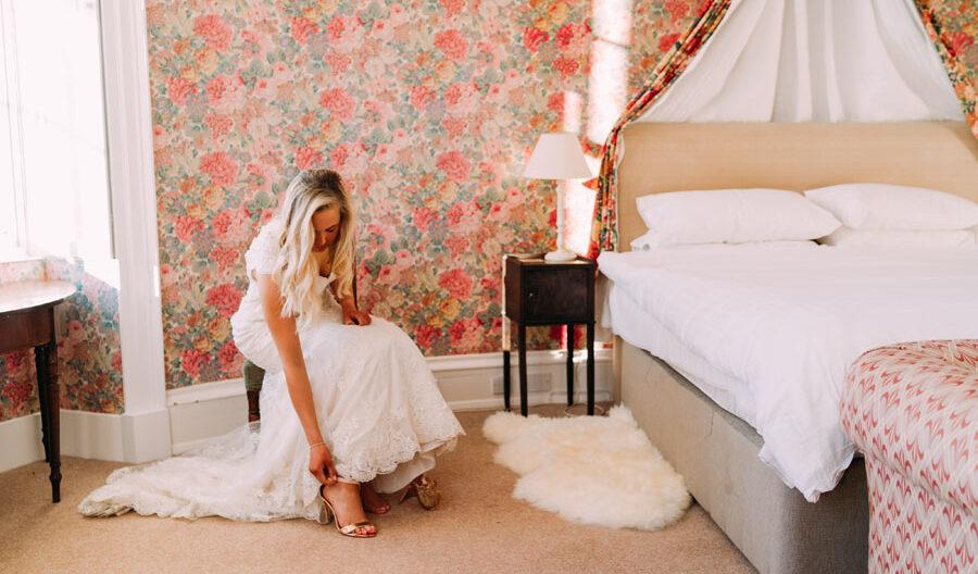 bride getting ready in Tulliemet Lodge