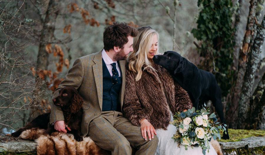 wedding couple at Kindrochet lodge Atholl Estates