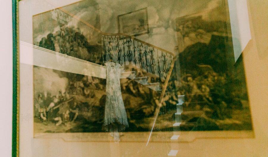reflection of wedding dress at Tulliemet lodge