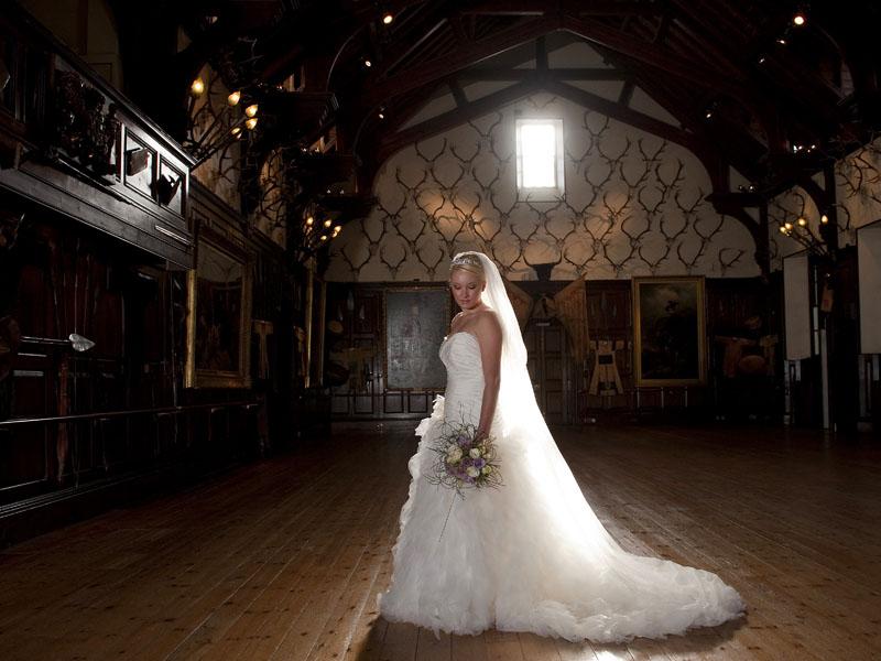 bride in the ballroom at Blair Castle
