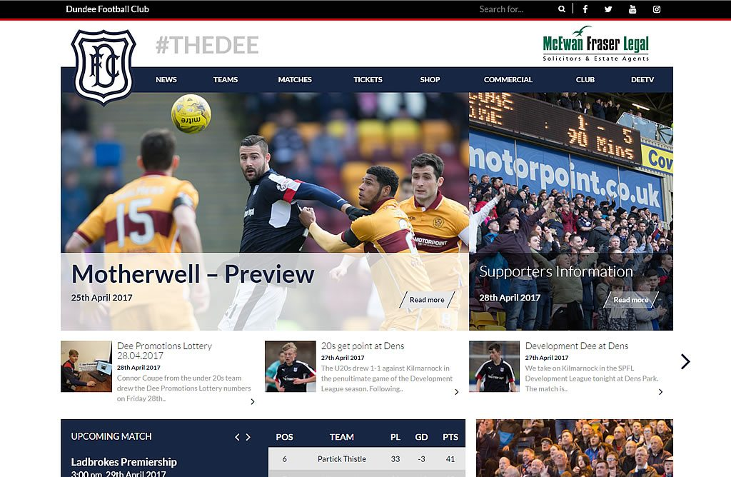 web design dundee football club