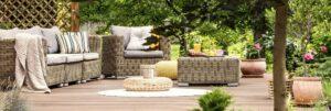 Garden furniture on wooden patio