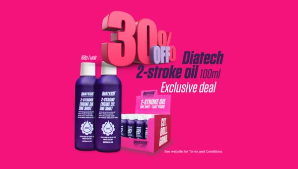 Diatech 2-stroke oil 100ml shots from just 69p