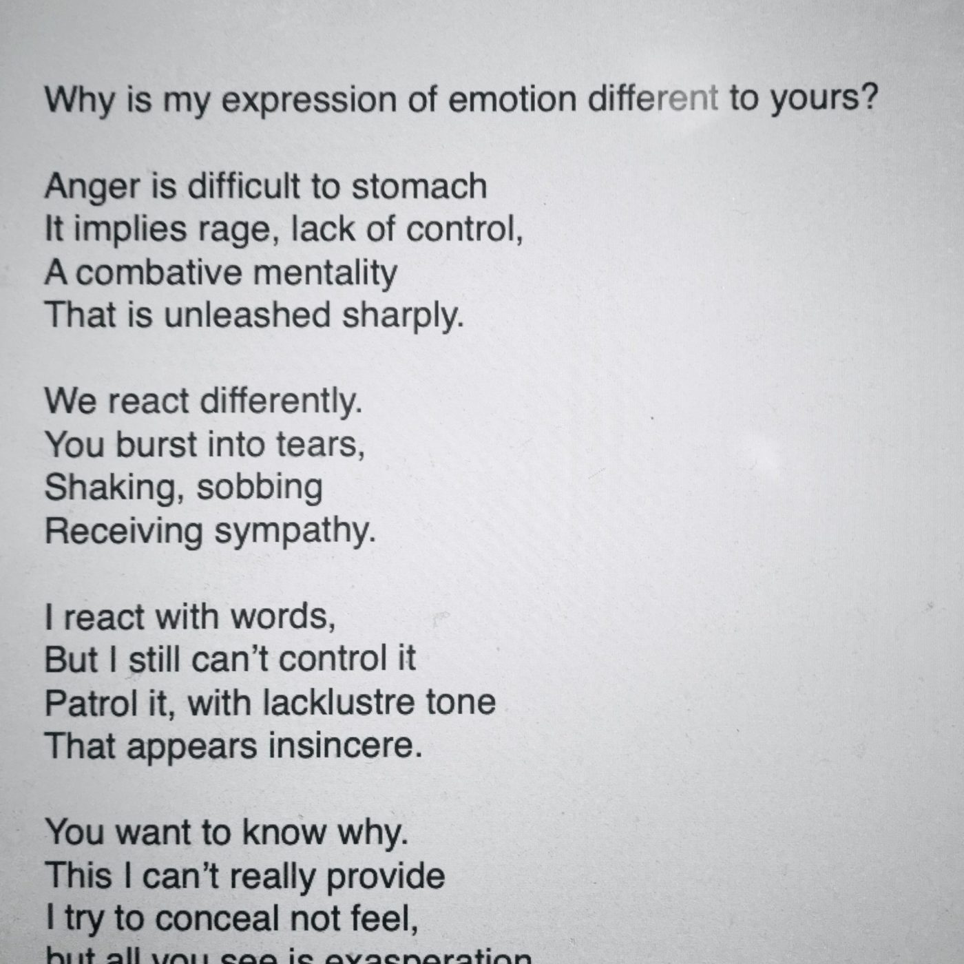 Is my expression of emotion different to yours?
