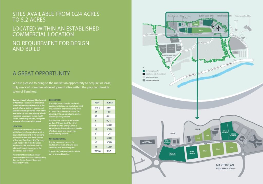 Banchory Business Park sites for lease