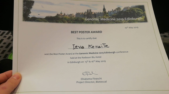 Photograph of Ieva's Certificate for Best Poster Proze