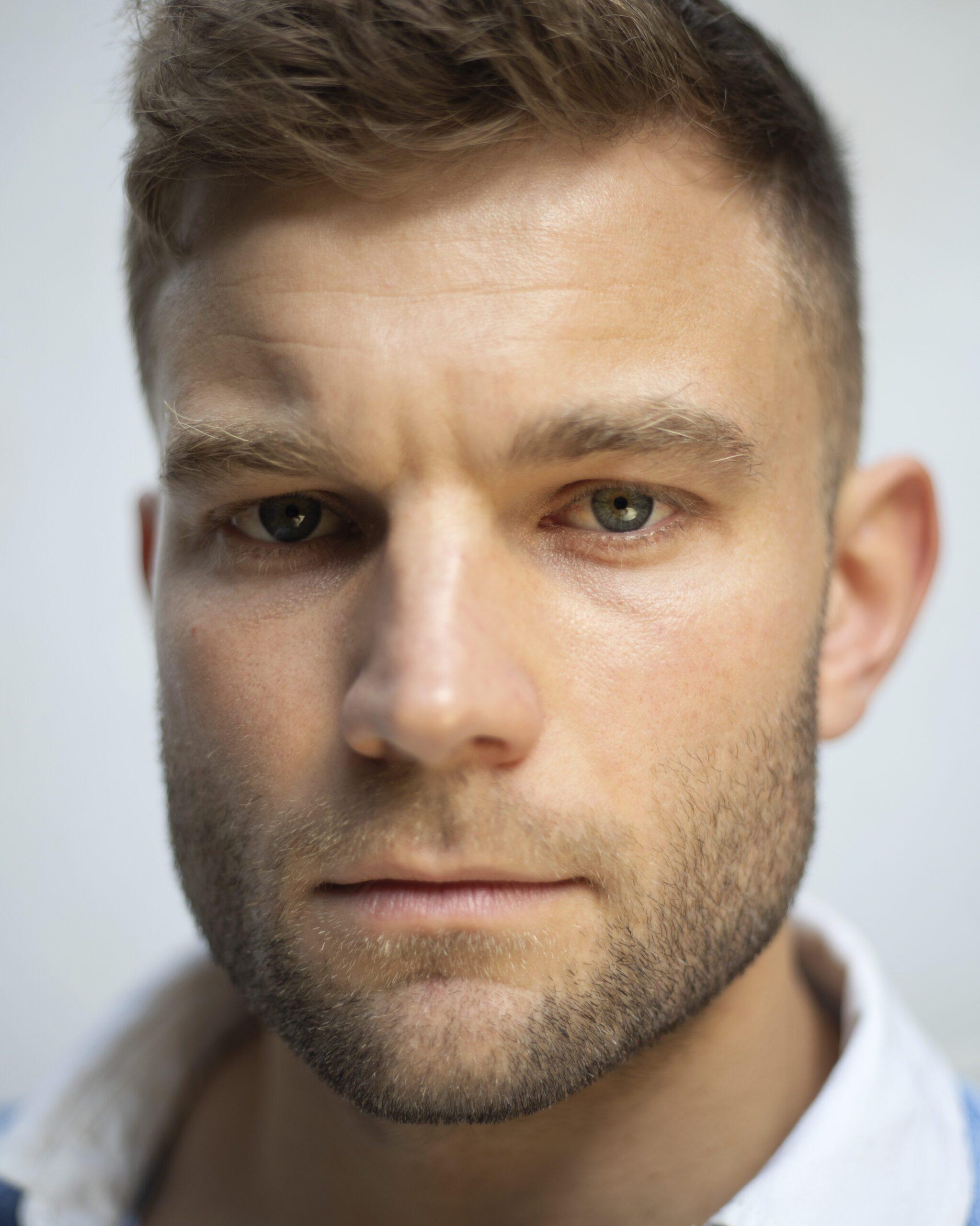 close up of male model Alex Cooper