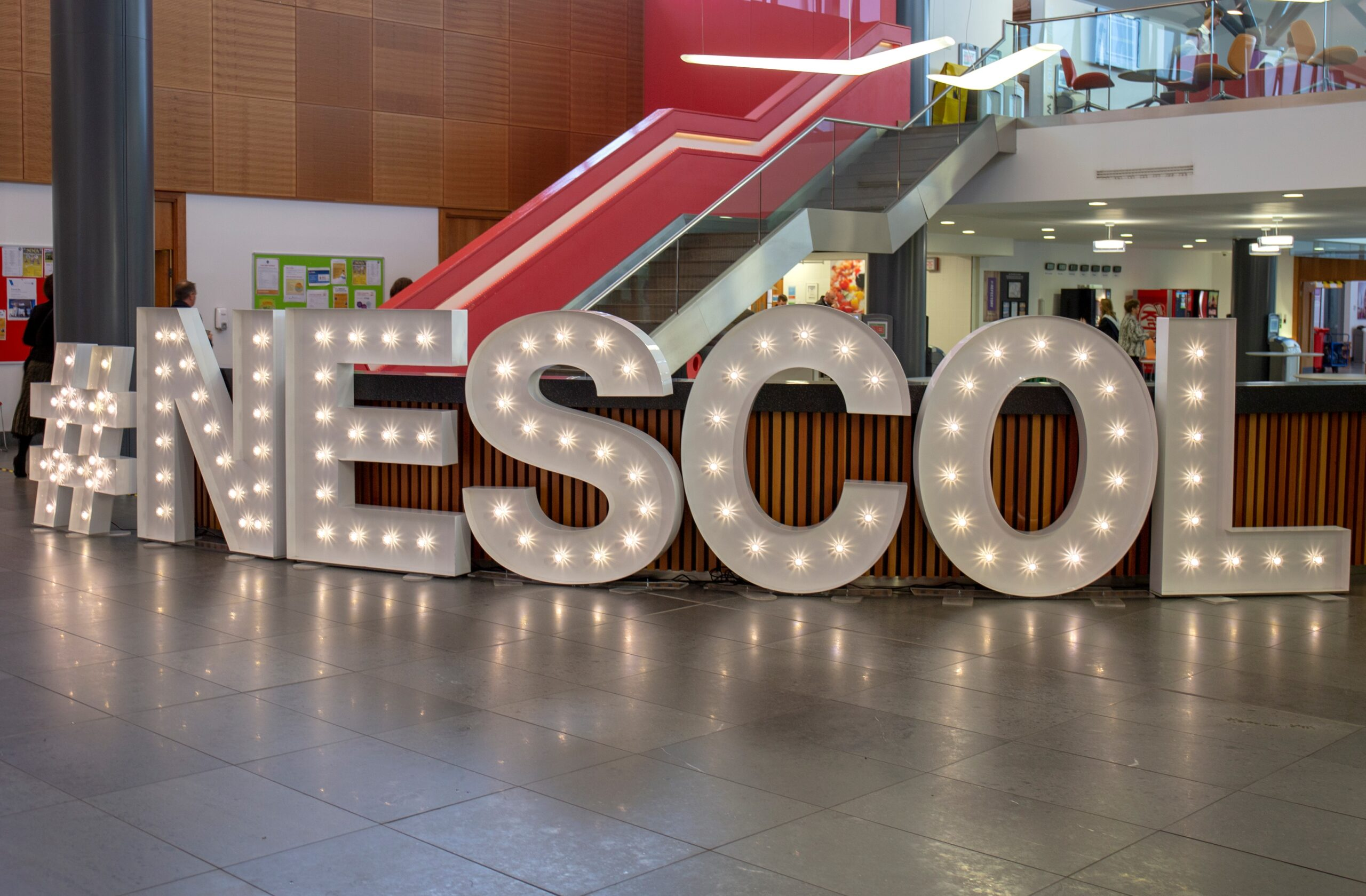 NESCol in lit up 3D letters