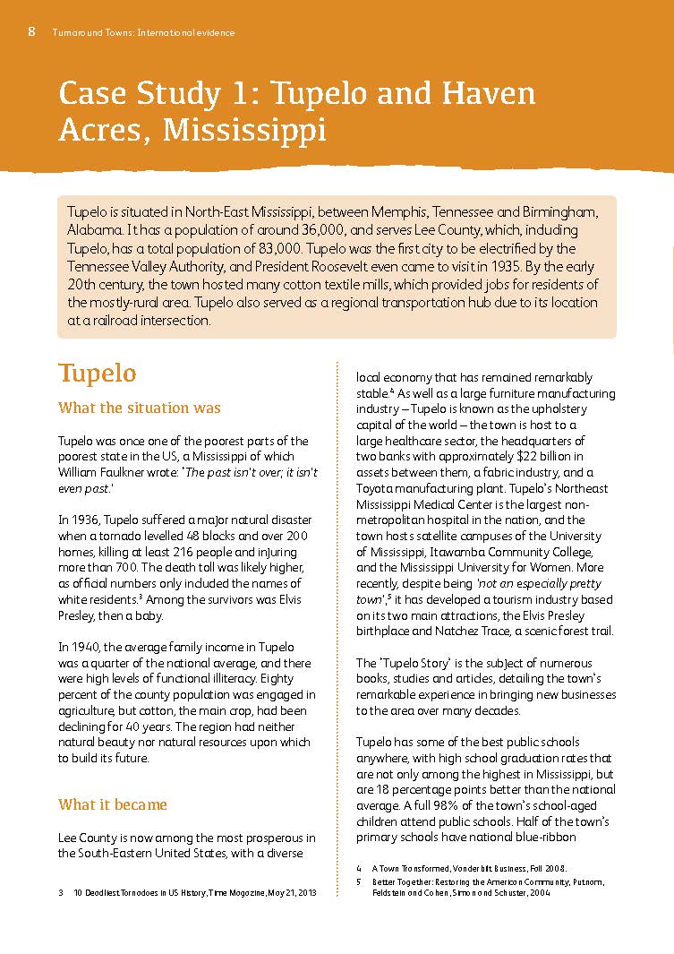 Turnaround Towns Case Study 1: Tupelo and Haven Acres, Mississppi
