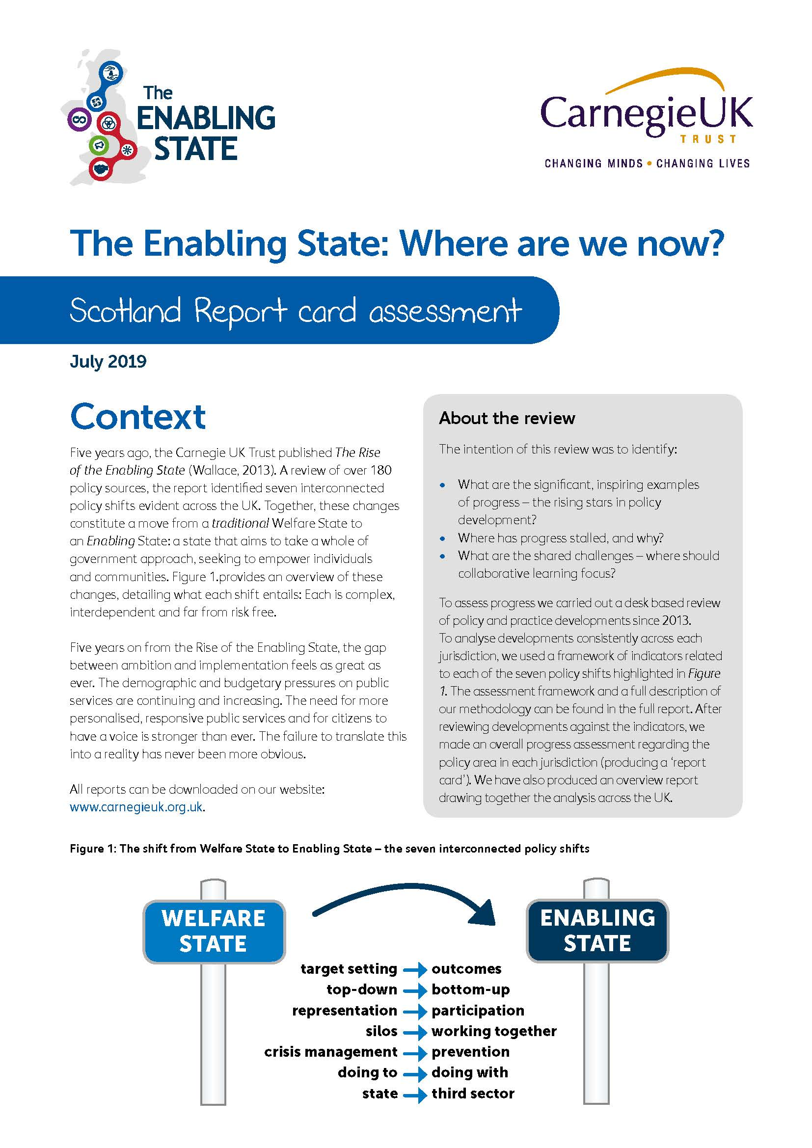 The Enabling State: Where are we now? Scotland Report card assessment