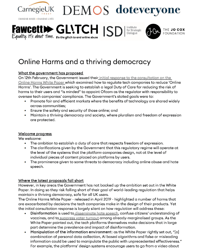Online Harms Democracy Briefing