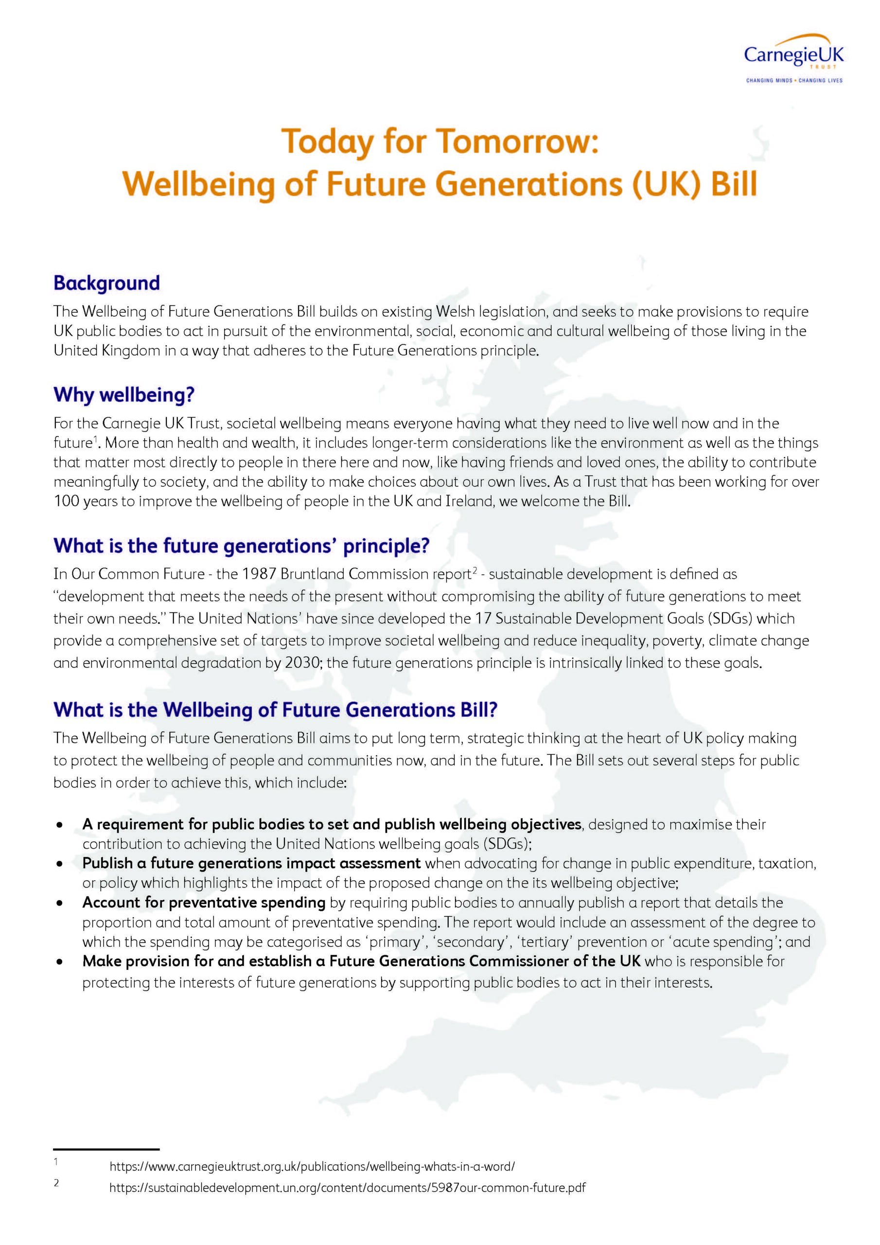 Today for Tomorrow: Wellbeing of Future Generations (UK) Bill