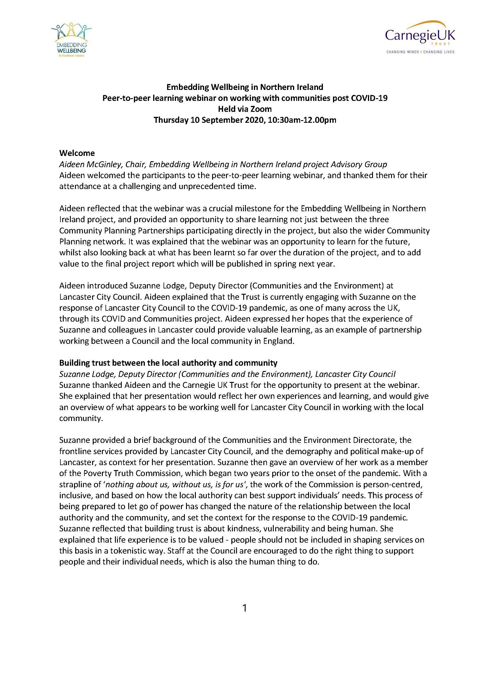 Embedding Wellbeing in Northern Ireland Peer-to-peer learning webinar on working with communities post COVID-19