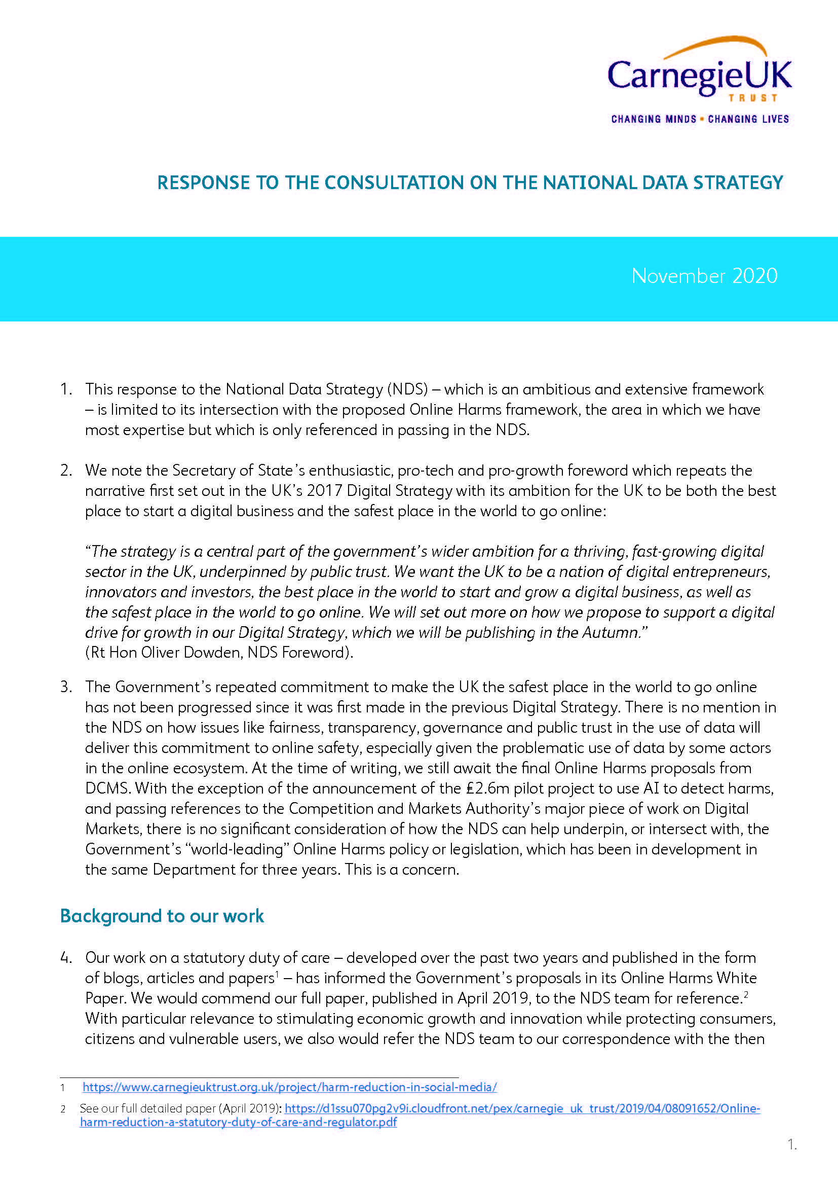 Response to the Consultation on the National Data Strategy